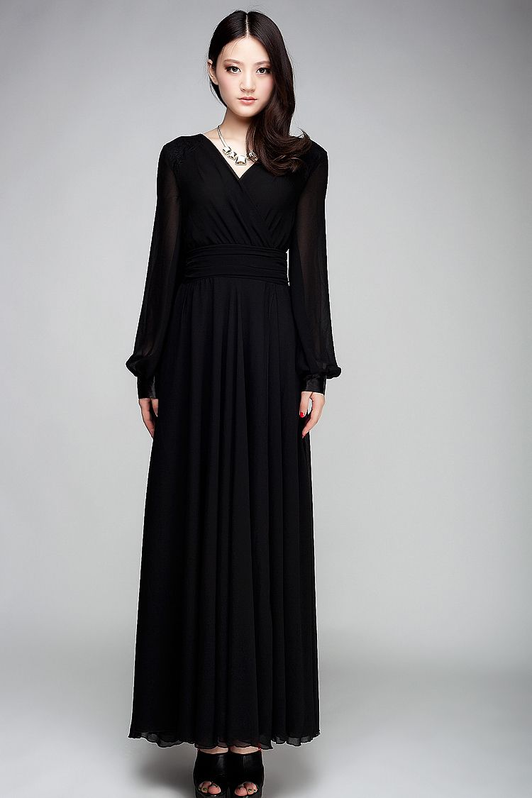 Long Sleeve Black Evening Dress | Evening Dresses | Pinterest ...