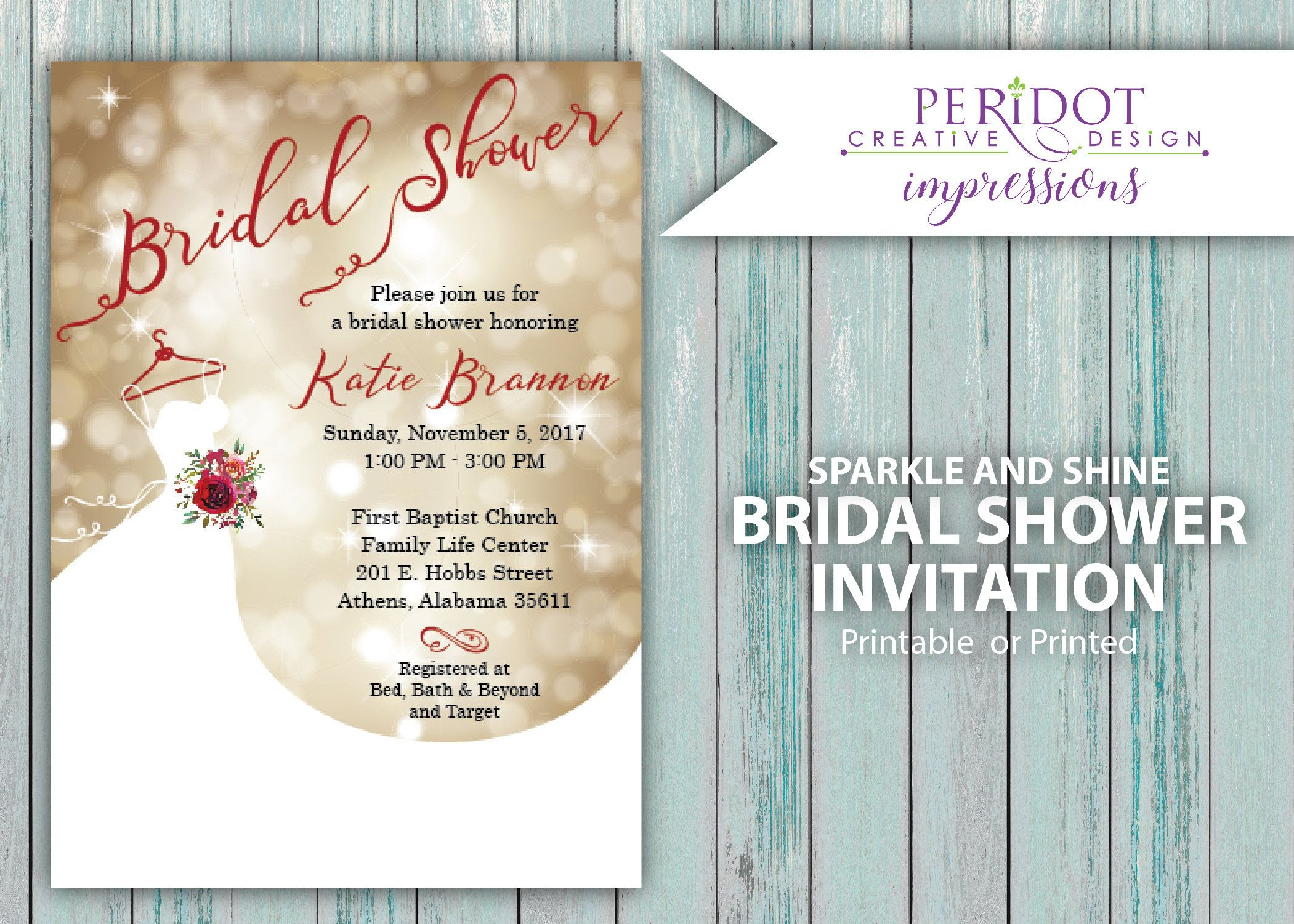 Printed Or Printable Bridal Shower Invitation Holiday Shower