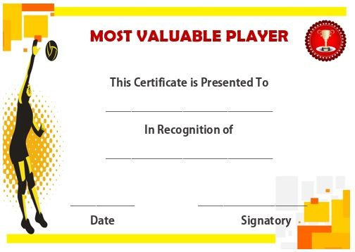 Volleyball mvp certificate Volleyball certificates free - samples certificate