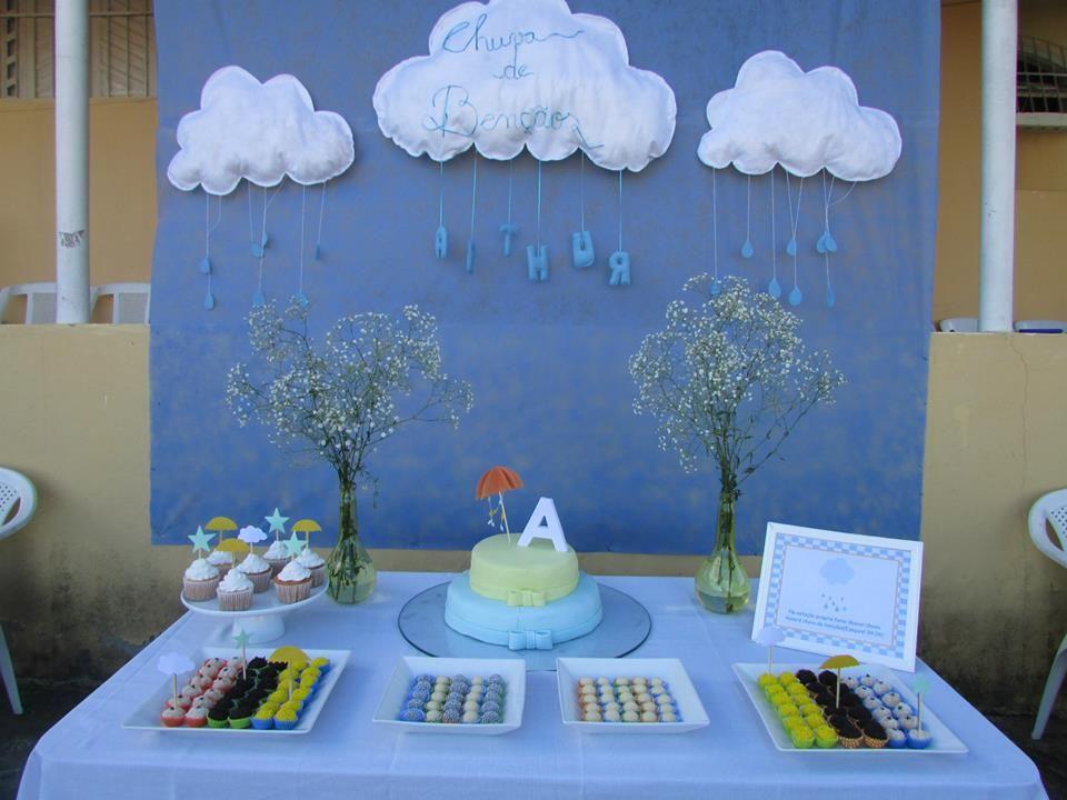 Decoraç u00e3o chá de fraldas Chá de Beb u00ea Menino Pinterest -> Decoração Chá De Bebê Nuvem