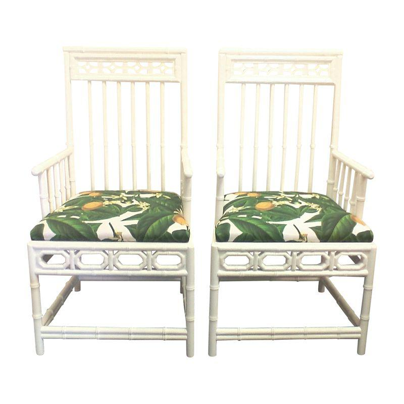 Chinese Chippendale Retro Lemon Chairs Pair