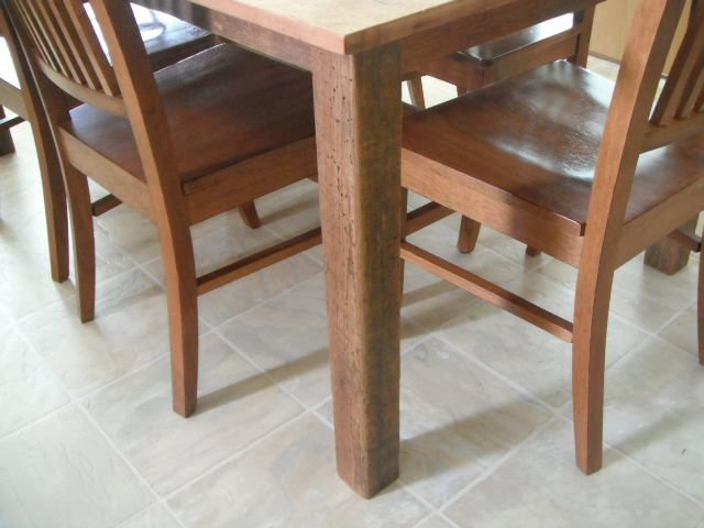 A grainery board table with the straight post leg option.