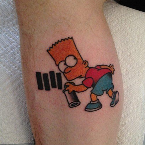 bart simpson black flag tattoo sooooo awesome ink. Black Bedroom Furniture Sets. Home Design Ideas