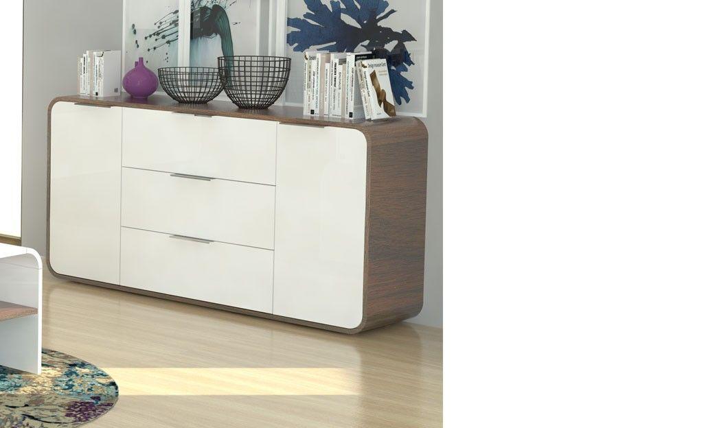 Buffet blanc laqué et couleur bois foncé moderne HAWAI | Buffet ...