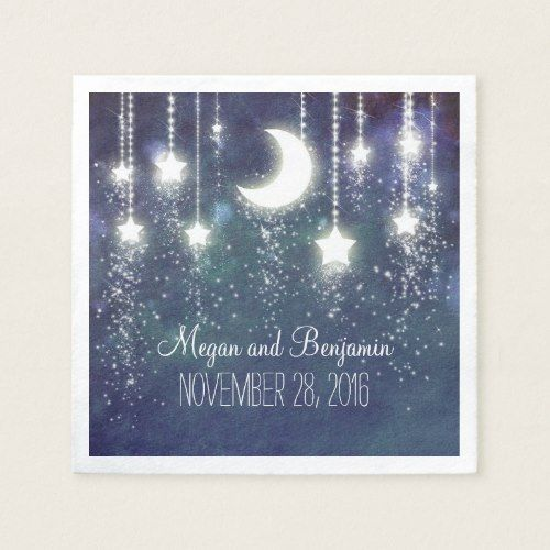 Minimalist moon and stars navy enchanted romantic paper napkin Minimalist - Review navy napkins