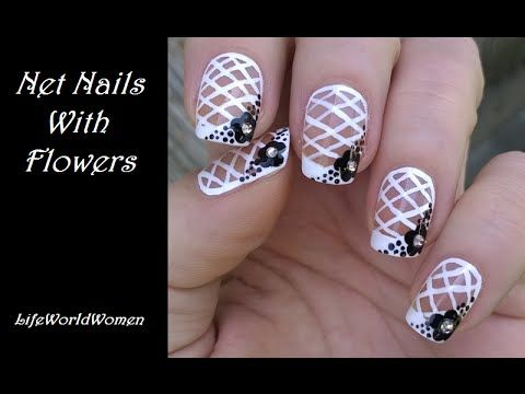 Net French Nail Art Tutorial Black White Nails With Flower Design Youtube French Nails Flower Nail Designs French Tip Nails