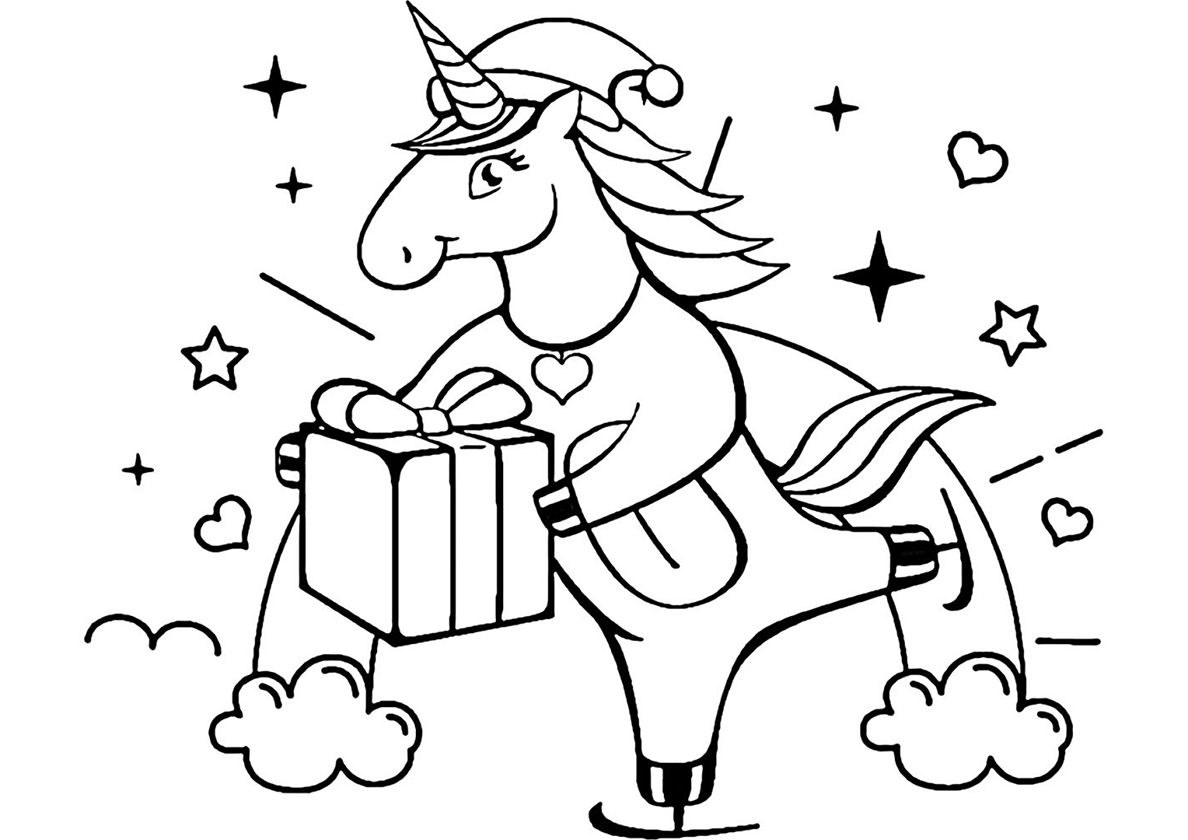 Christmas Present High Quality Free Coloring From The Category Unicorn More Printabl Unicorn Coloring Pages Christmas Present Coloring Pages Coloring Pages