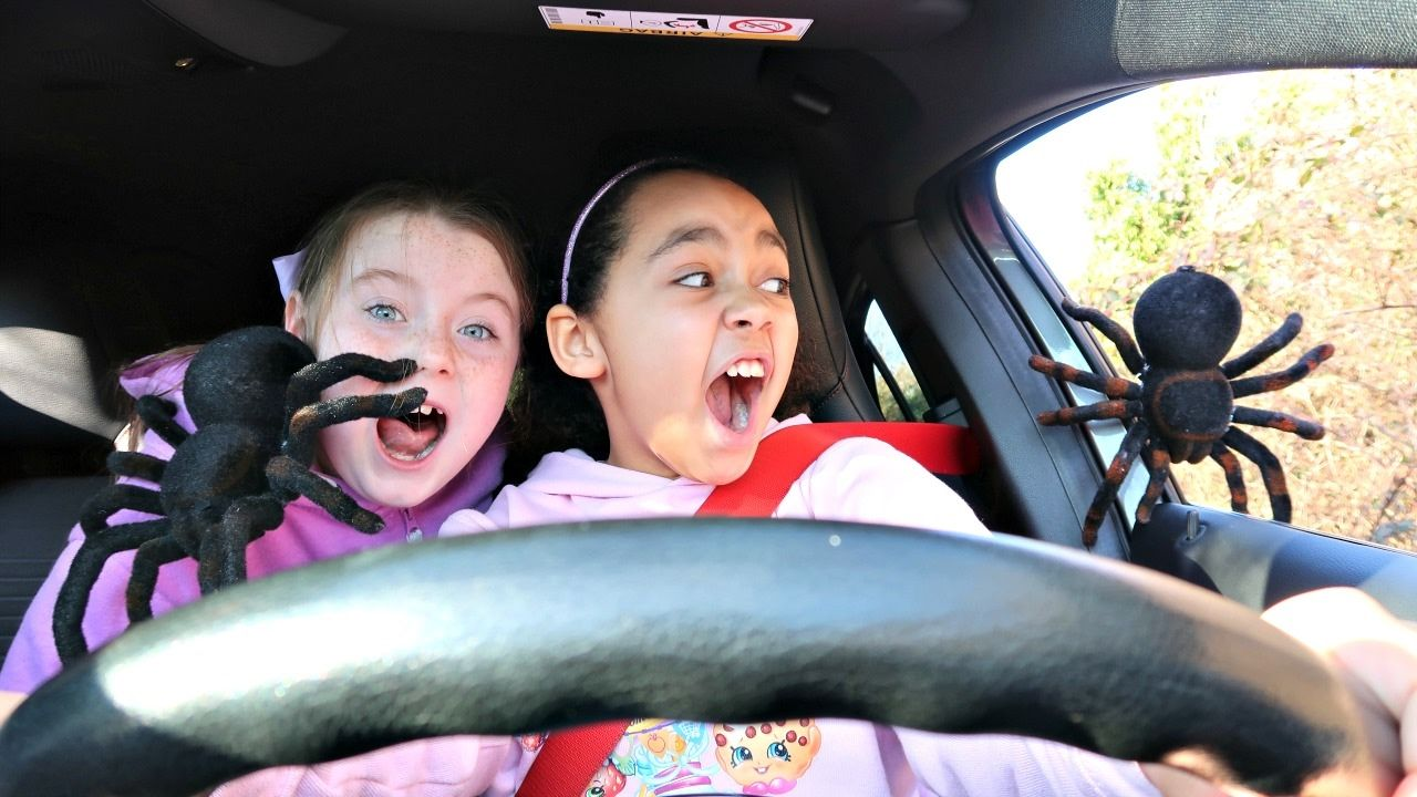 Bad Toys For Girls : Bad kids driving parents car giant spiders attack girl