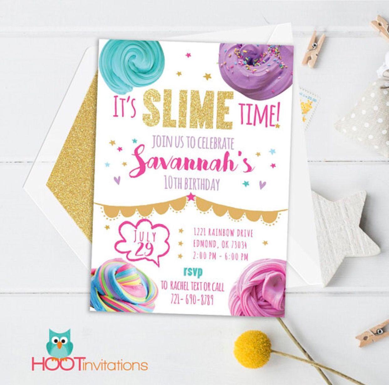 Slime Invitation Slime Birthday Slime Invite Printable Slime
