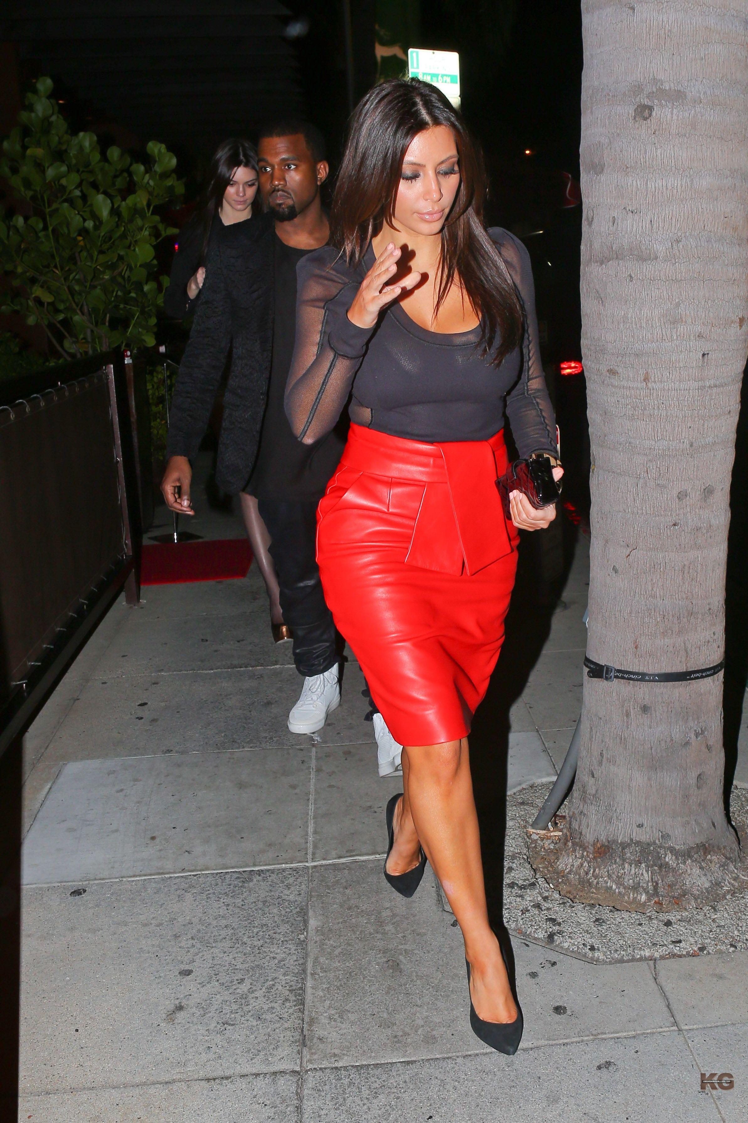 Kim Kardashian red leather pencil skirt & sheer black top
