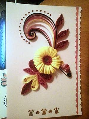 Felicitare quilling cu floare franjurată