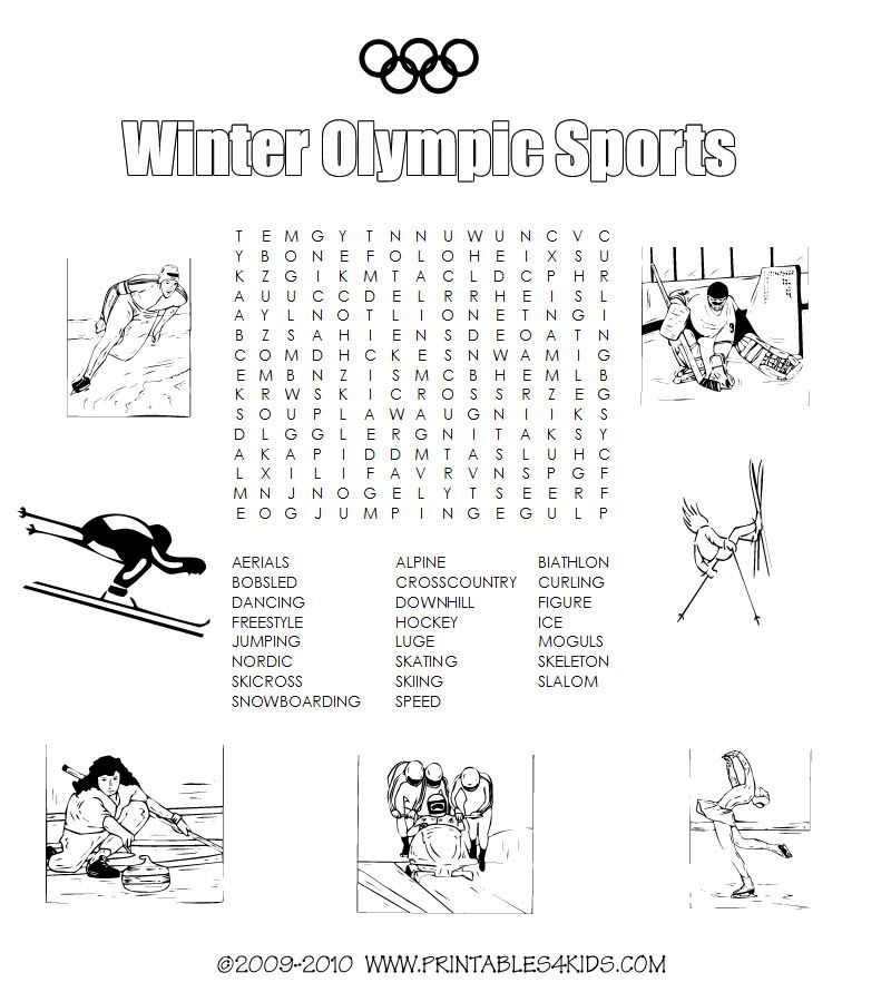Winter Olympic sports printable word search Printables
