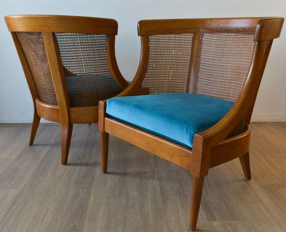 Mid Century Modern Cane Barrel Chairs Chair Covers For Bedroom A Stunning Pair Of Walnut And Back Lounge With Vintage By Themodernvault Furniture