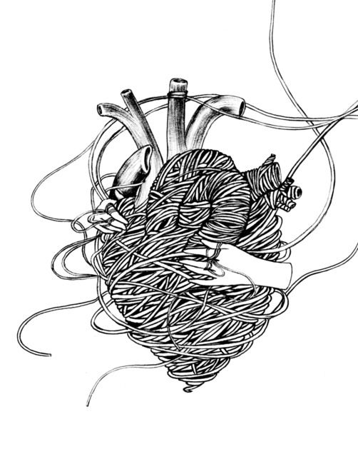 heart made of thread being unraveled