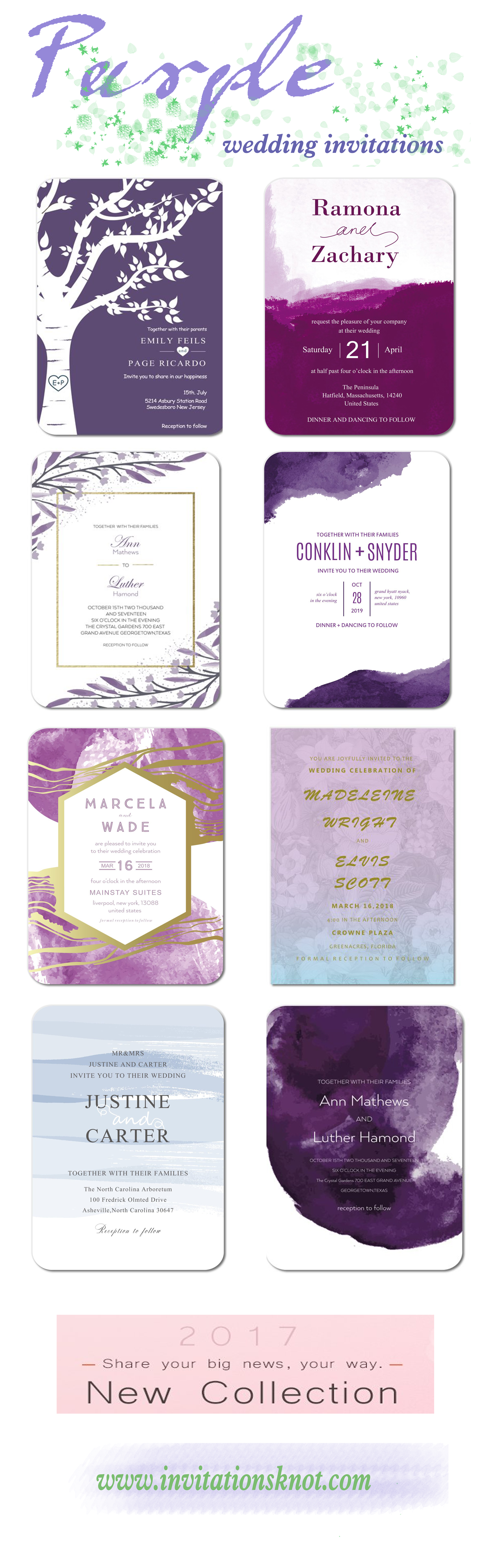 Purple wedding invitations We customize in trendy and stylish