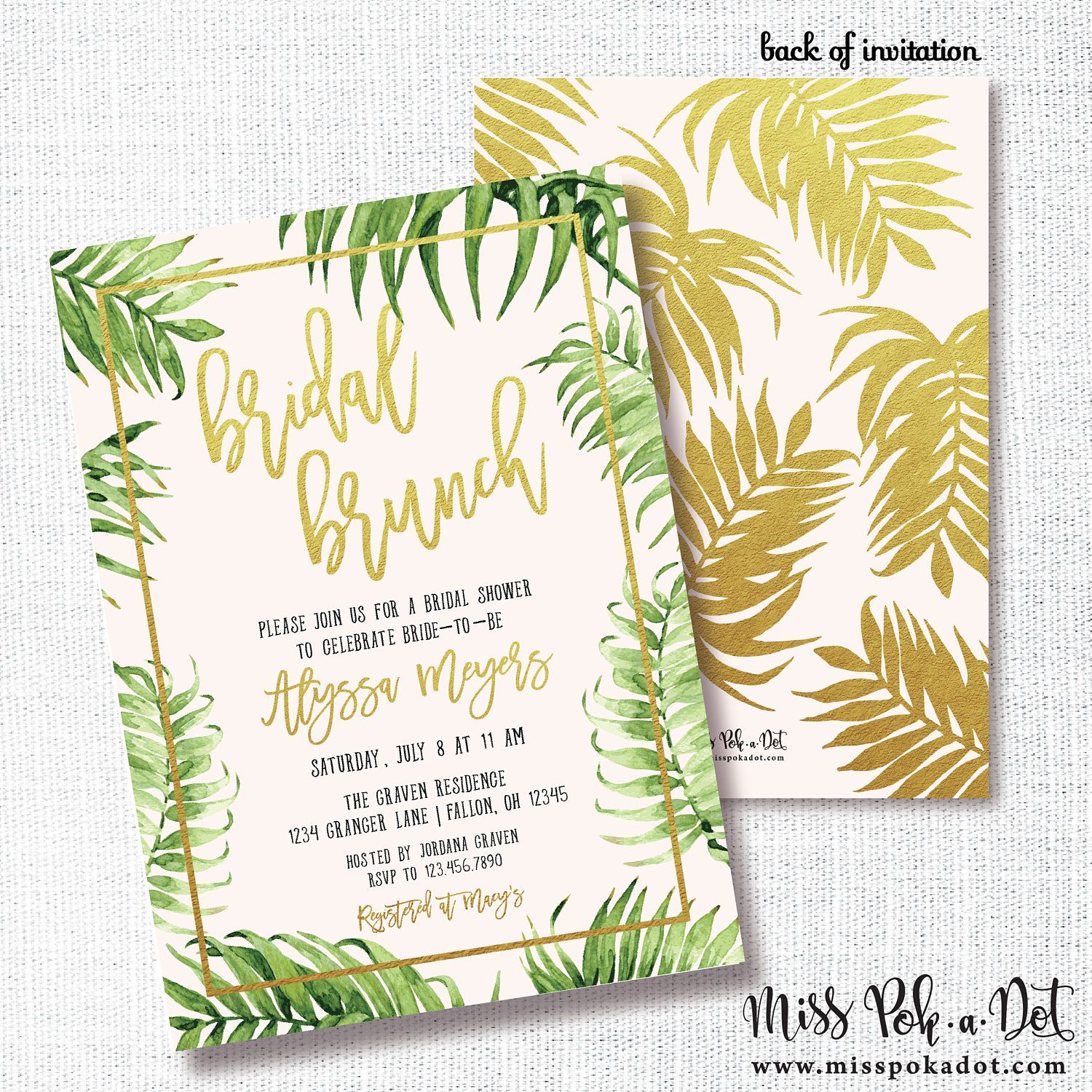 Palm Bridal Shower Invitation Printable Tropical Shower Invite