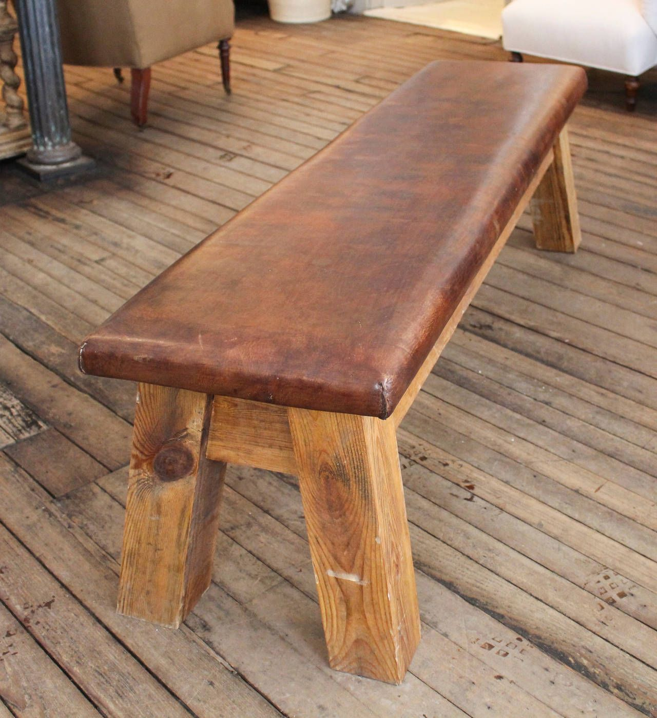 Vintage French Leather Gym Bench at 1stdibs Banc salle à