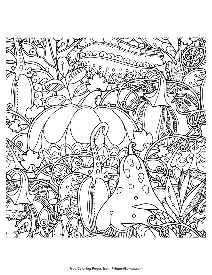 Fall Coloring Pages eBook: Fall Pumpkins, Berries, and Leaves | Free ...