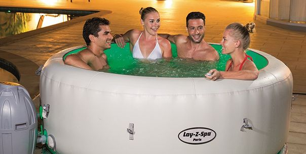 relax and unwind in the new 2016 lay z spa paris hot tub which is the very first lay z spa to. Black Bedroom Furniture Sets. Home Design Ideas