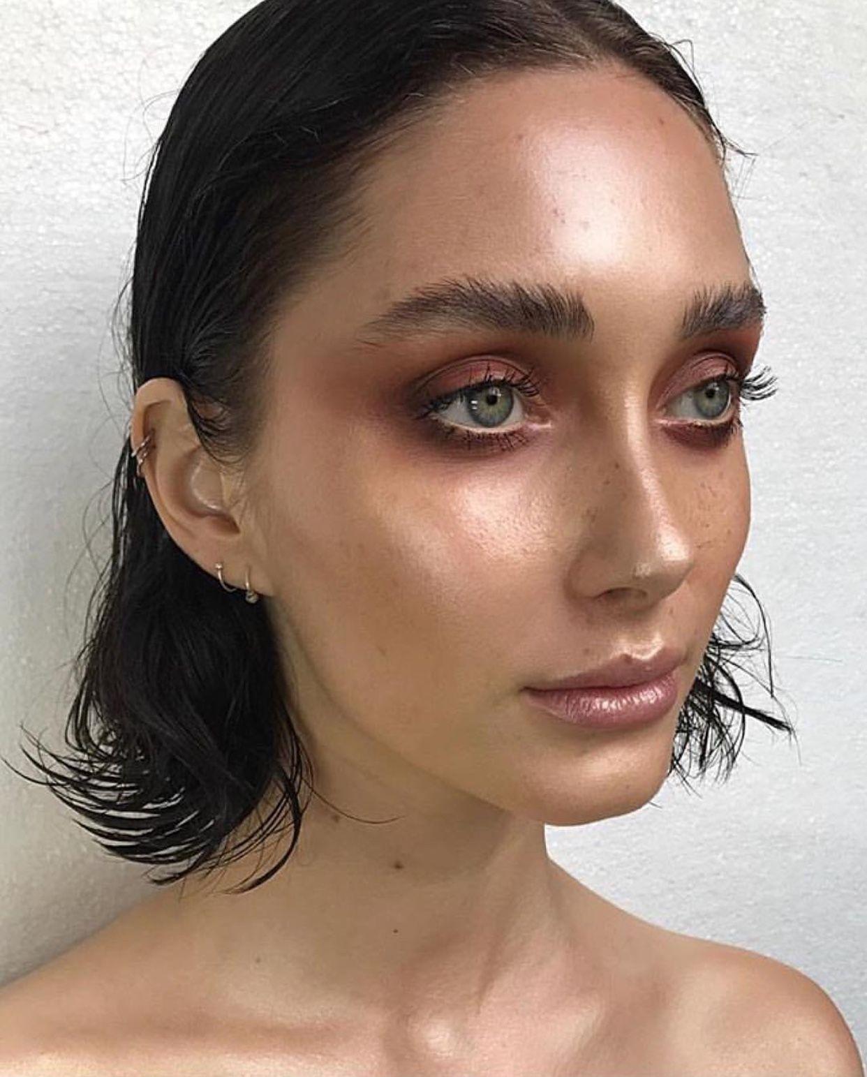 Natural Makeup and Brows Glowy Skin Editorial Makeup Pin