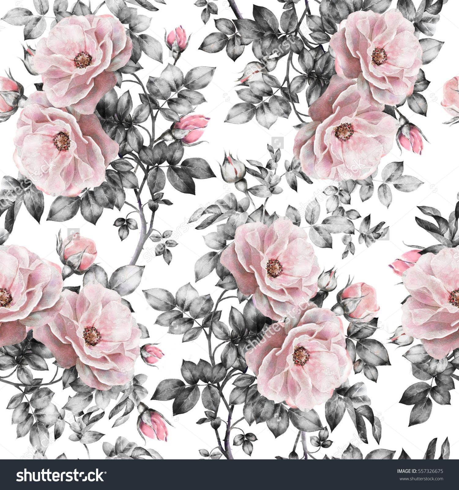 Seamless pattern with pink flowers and leaves on white background