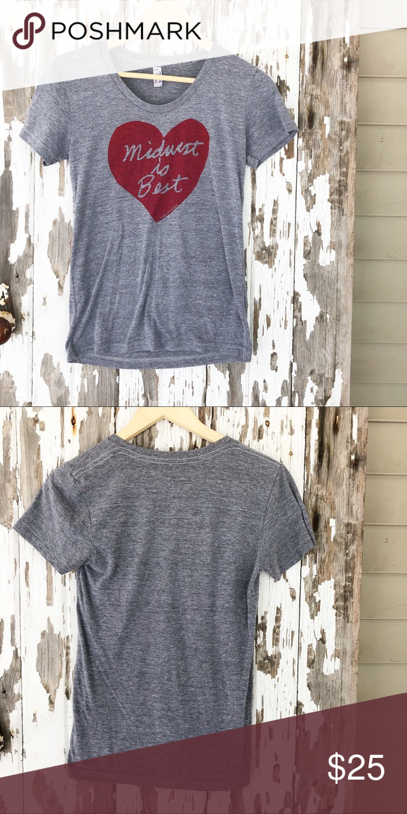 Midwest Is Best Vintage Vibes Tee Vintage Vibes Large Heart Design With Midwest Is Best Written Inside It Gr American Apparel Tops Vibes Tees Vintage Vibes