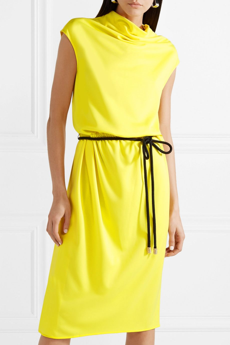 Belted Draped Jersey Midi Dress - Yellow Marc Jacobs uLaIPyU