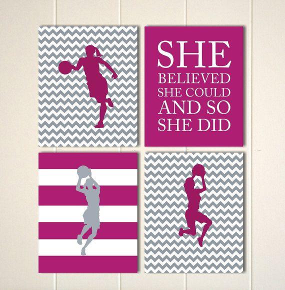 Fresh Basketball basketball girl wall art girls wall art dorm poster girls motivational art girls bedroom sports art Set of 4 prints Contemporary - Inspirational Wall Posters for Bedroom In 2018