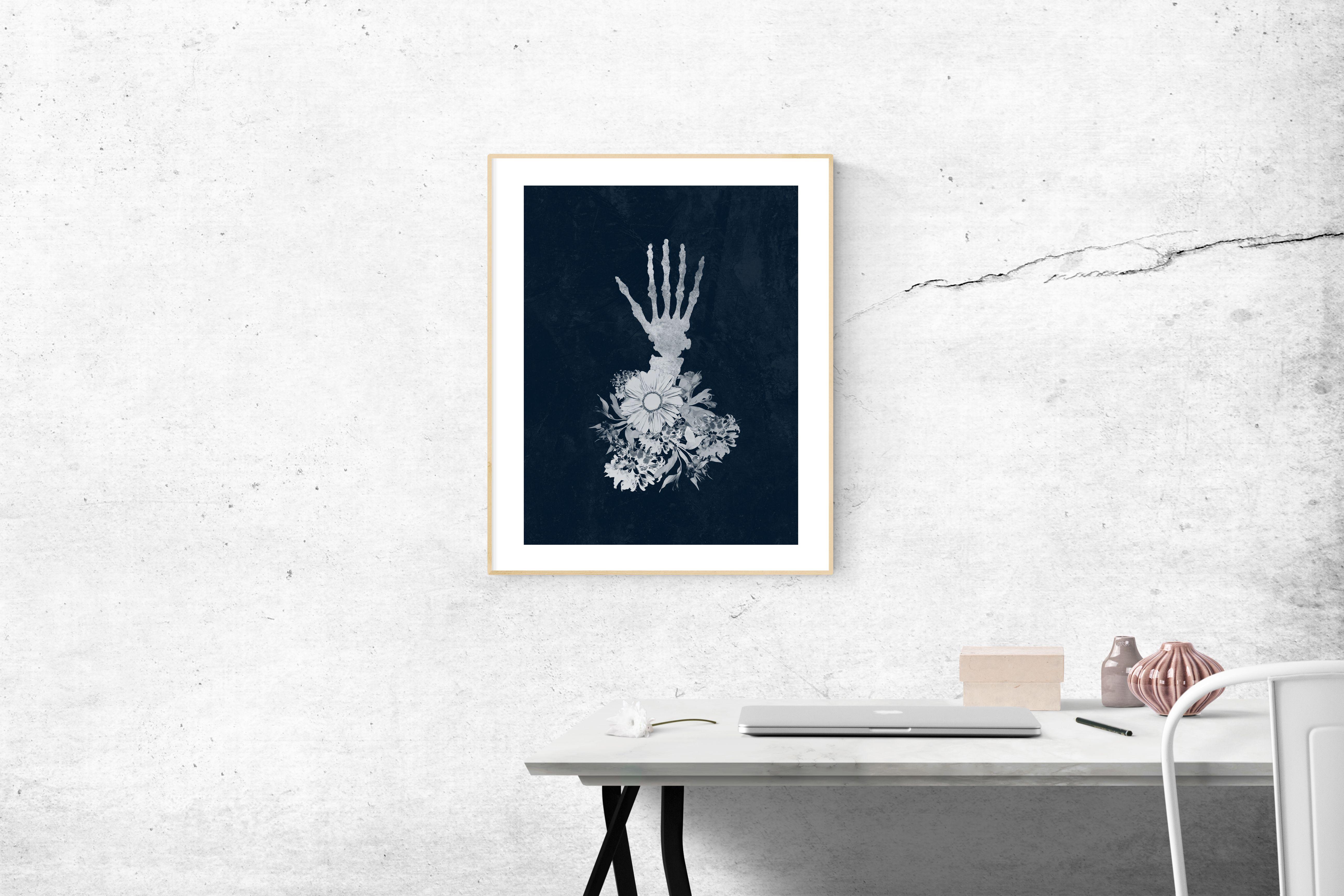 Flower Skeleton Hand Digital Art Print 11 x 14 Buy 2 Art
