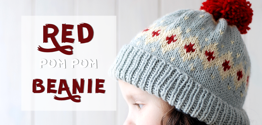 Red Pom Pom Beanie Toddler knitted fair isle beanie. Simple ...