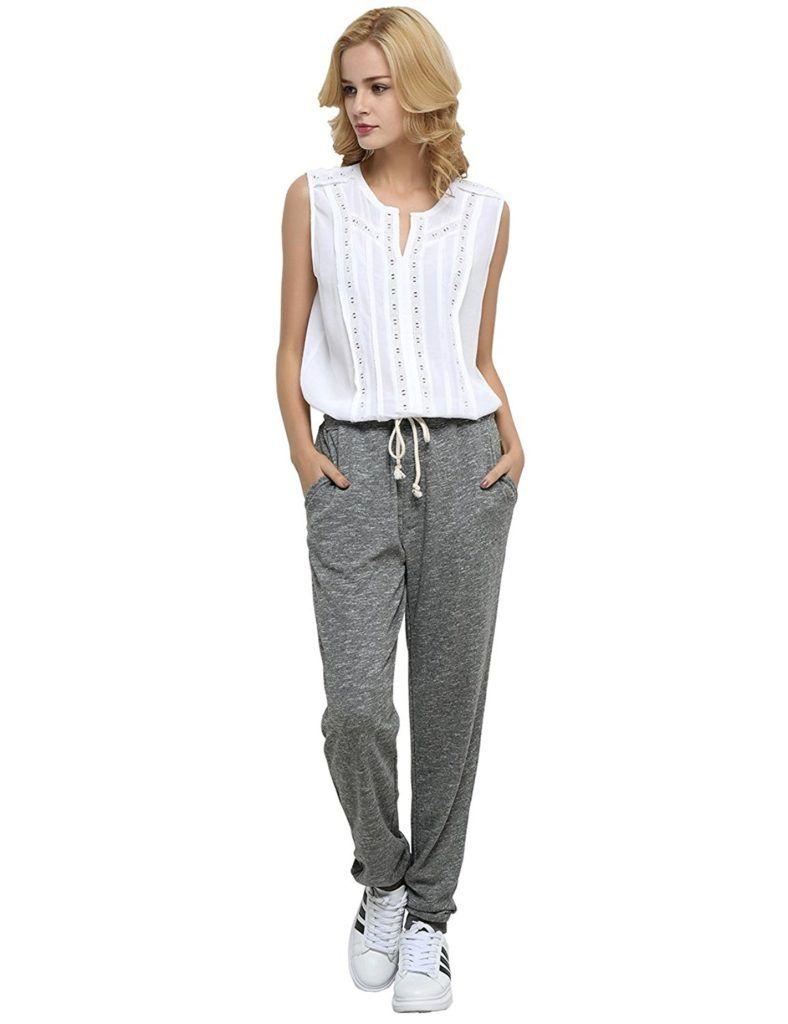 Weintee Womens Knit Sweatpants Capri Pants with Pockets