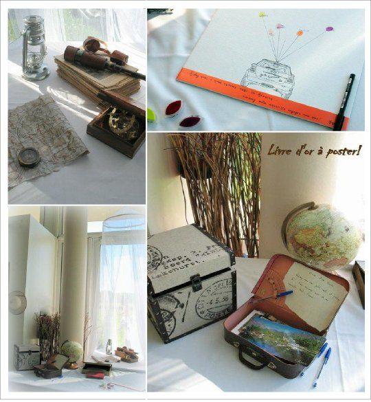decoration mariage voyage livre d or postal