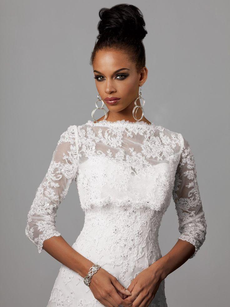 Modest Lace Wedding Jackets Three Quarter Sleeves Boat Neck Beaded Appliques Bridal Bolero Custom Made Women Wraps
