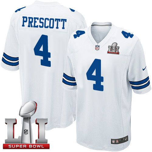 new style 397ff 4159f Nike Dallas Cowboys Youth #4 Dak Prescott Elite White Road ...