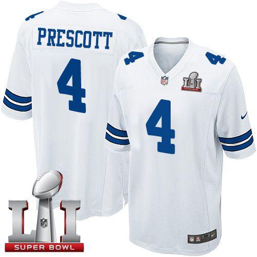 new style e2cb1 b28a9 Nike Dallas Cowboys Youth #4 Dak Prescott Elite White Road ...