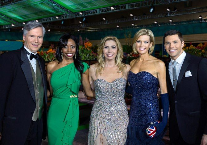 Our Action News Weather Team At The Flower Show From Left To Right David Murphy Melissa Magee Karen Blonde Celebrities Strapless Dress Formal Karen Rogers