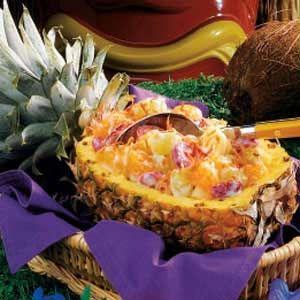 Hawaiian Fruit Salad - pineapple, strawberry, kiwi, banana, coconut. Love the pineapple as a serving bowl