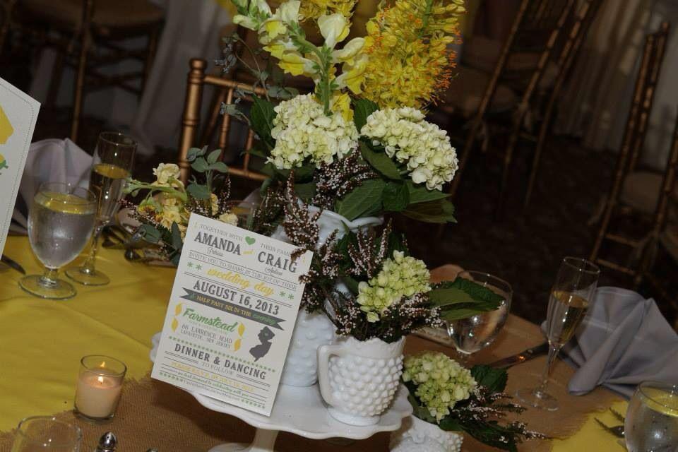Centerpiece At A Yellow And Grey Wedding Milkglass Mrs Amanda