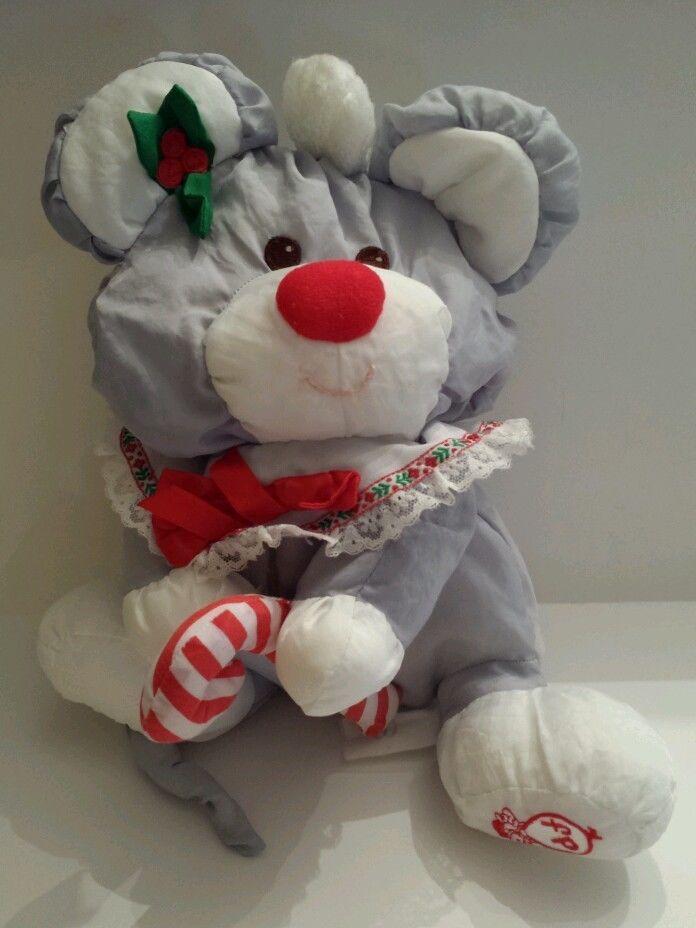 Vintage Puffalumps Christmas Mouse Plush Stuffed Animal Soft Fisher