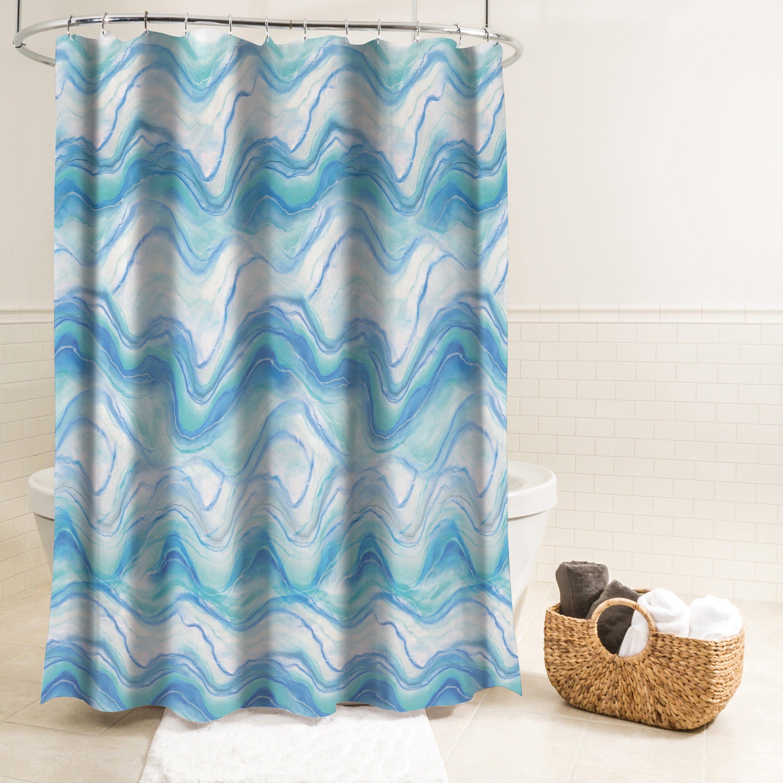 Splash Home Ozana Marble Polyester Fabric Shower Curtain 70 X 72