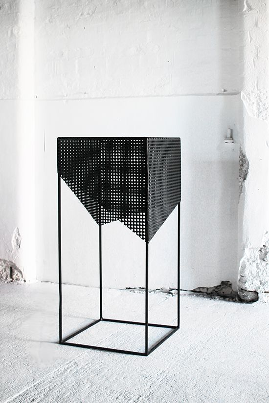 Exhibition Display Plinths : Pierced metal plinths display exhibition