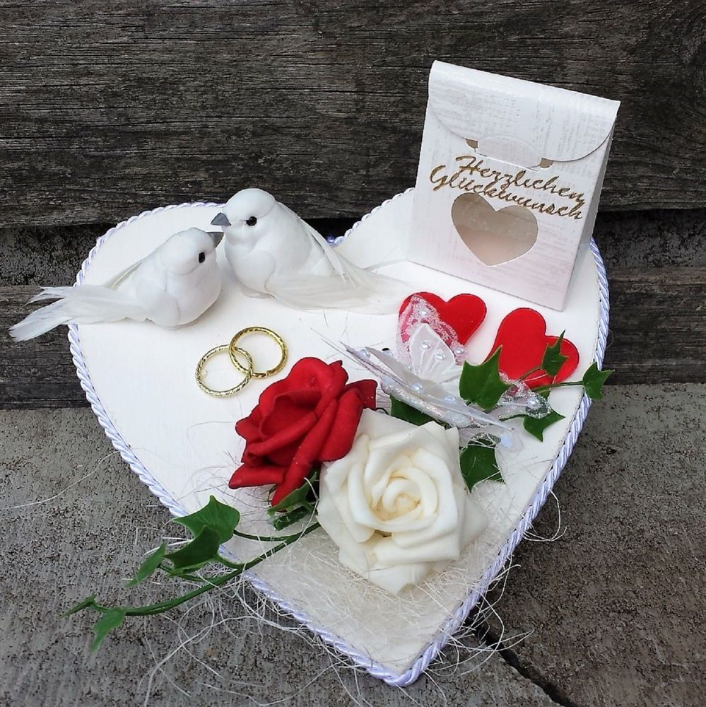 Danksagungstext Hochzeit Originell: Geldgeschenk Hochzeit Herz Weiß Rot Tauben Eheringe