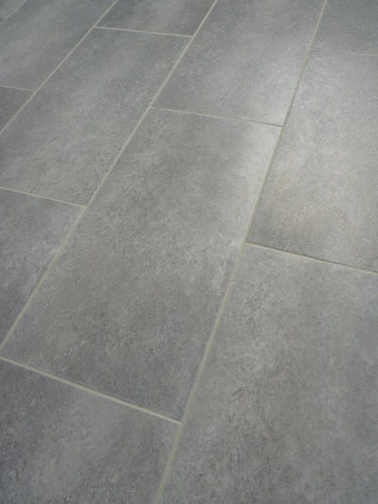 Love this large porcelain tile flooring look using vinyl flooring