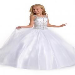 [ $25 OFF ] Straps Crystal Children Flower Girl Dresses White First Communion Dresses Custom Made Little Girls Pageant Dresses