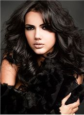 GraceLace Front Front Long Wavy Black Top Quality High Heated Fiber Hair Wig http://www.charmwigs.com