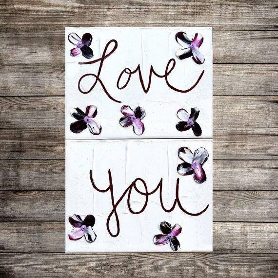 ART SALE Love You NEW glow in the dark purple art floral artwork