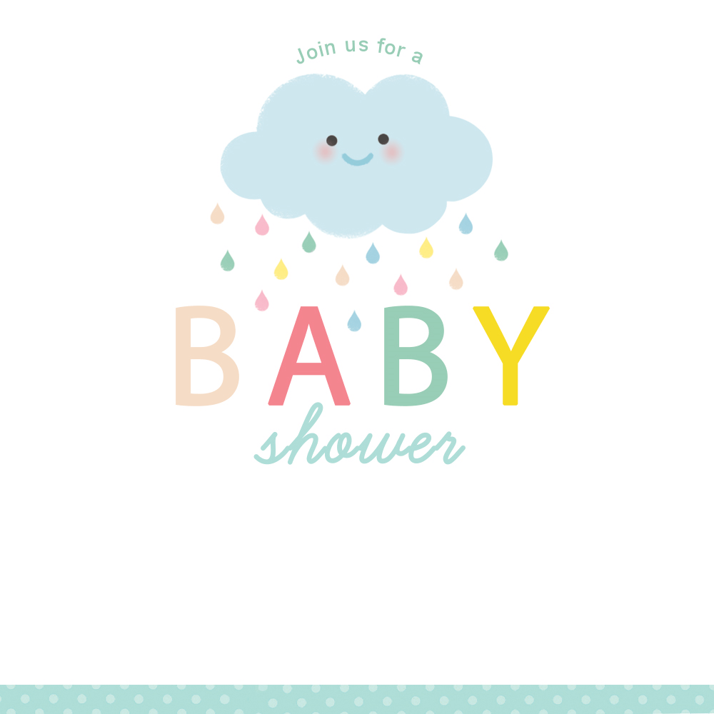 Shower Cloud Free Printable Baby Invitation Template Greetings Island