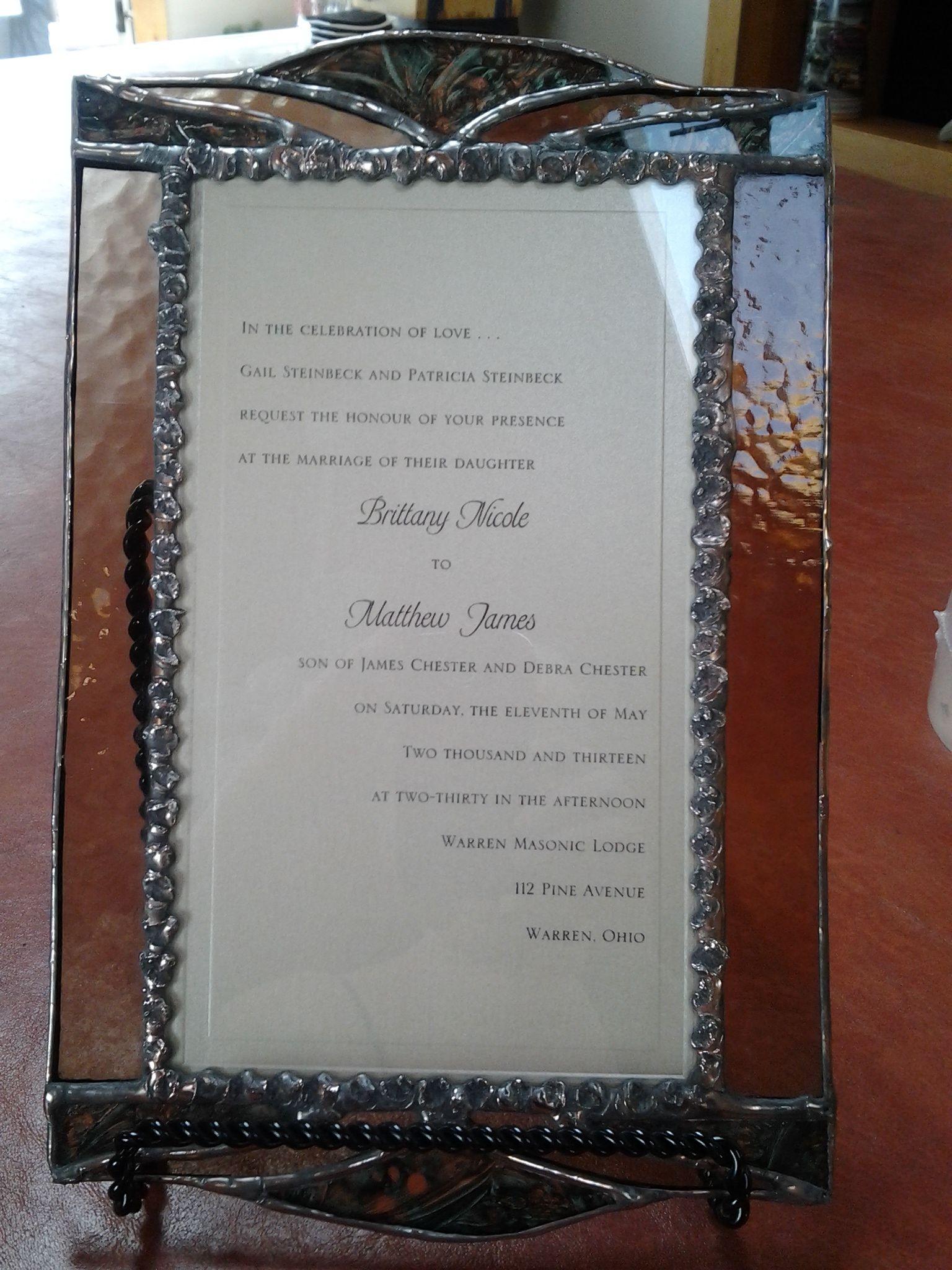 Keepsake Wedding Invitation, enclosed in glass!