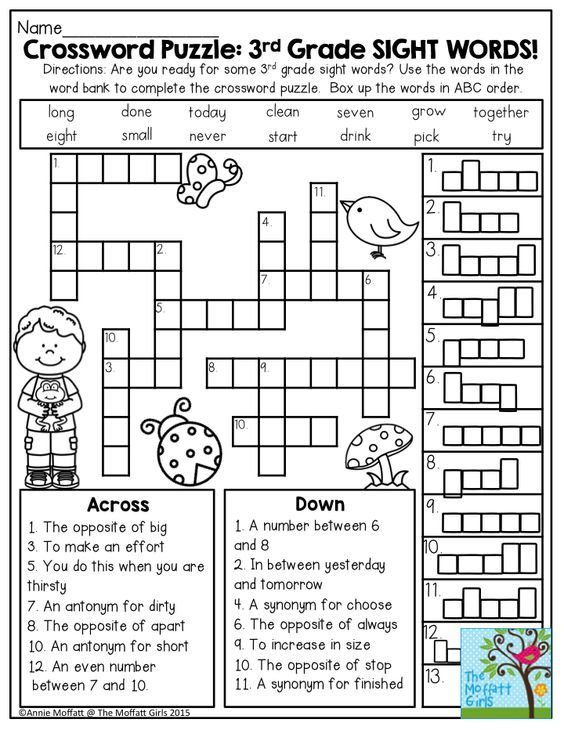 Crossword Puzzle 3rd Grade SIGHT WORDS Great Introduction To Get Second Students Ready For Third