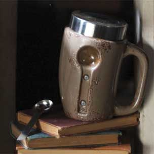 Ceramic Coffee Mug Canister With Magnetic Spoon Grey